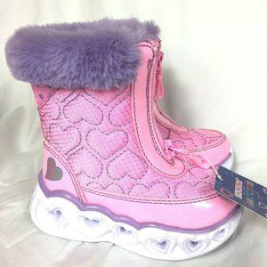 Skechers Heart Lights Boots Baby Toddler Size 5